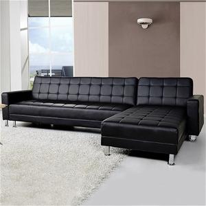 Corner Sofa Lounge with Chaise - Black F