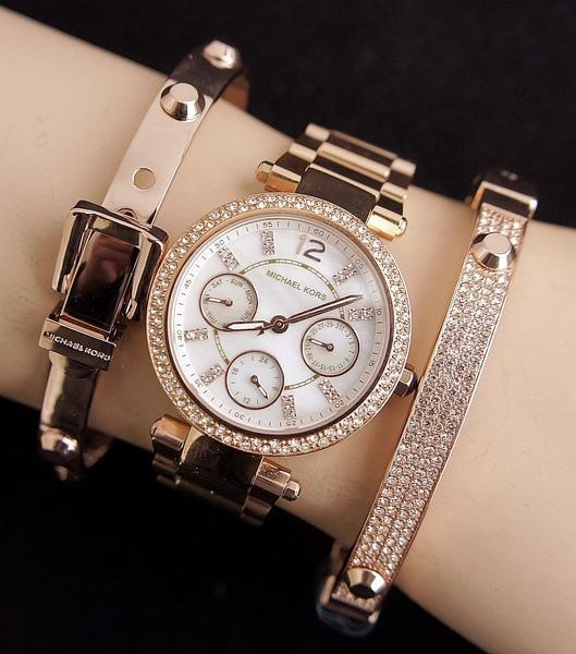 Ladies new Michael Kors Couture Parker chrono. diamante watch.