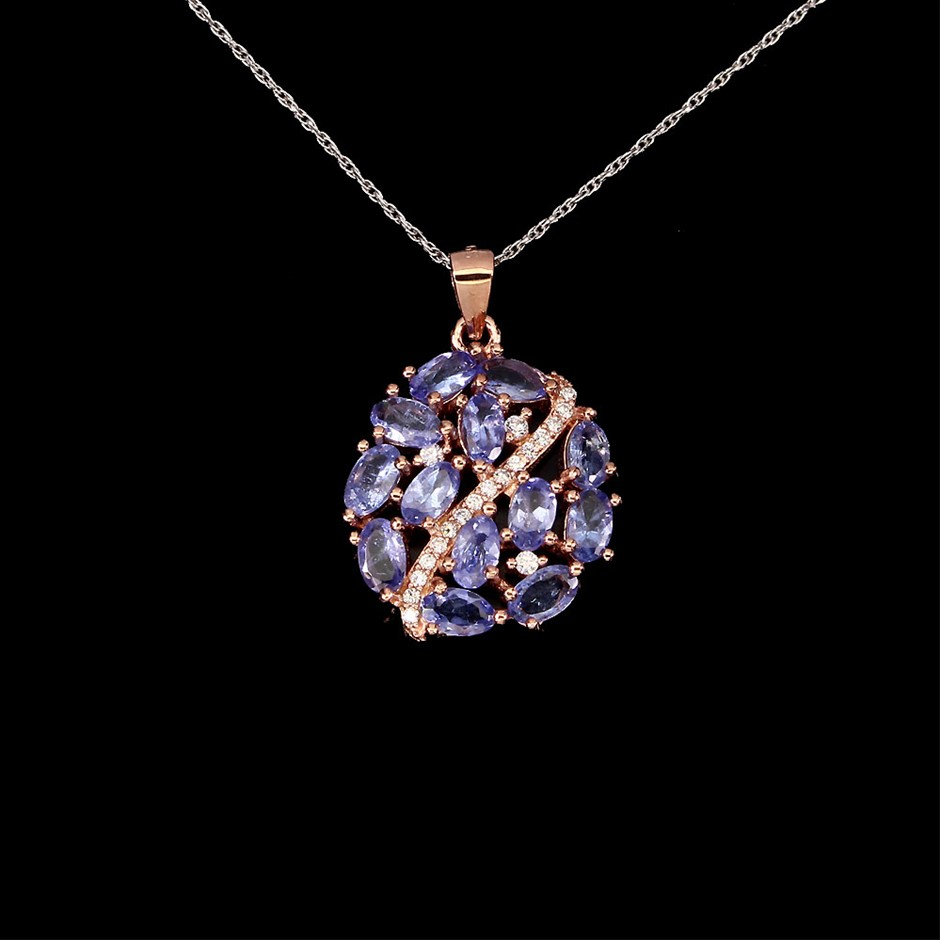 Striking Genuine Tanzanite Cluster Pendant & Chain