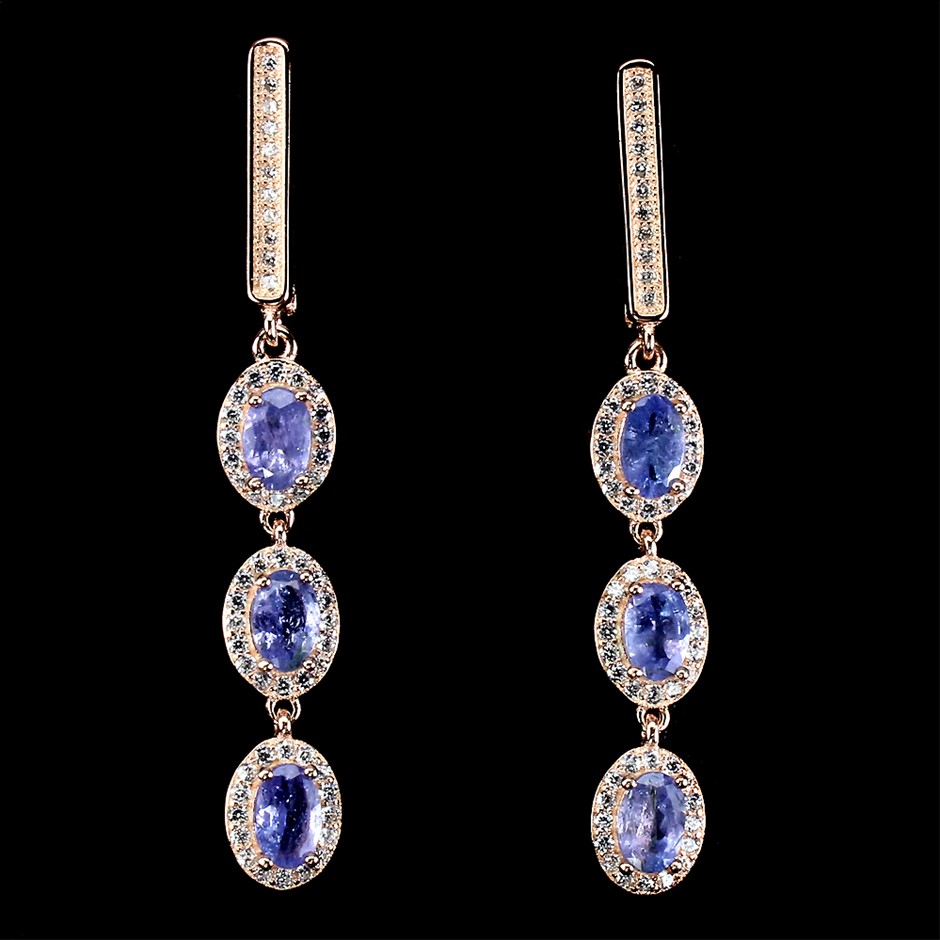 Delightful Genuine Tanzanite drop earrings.