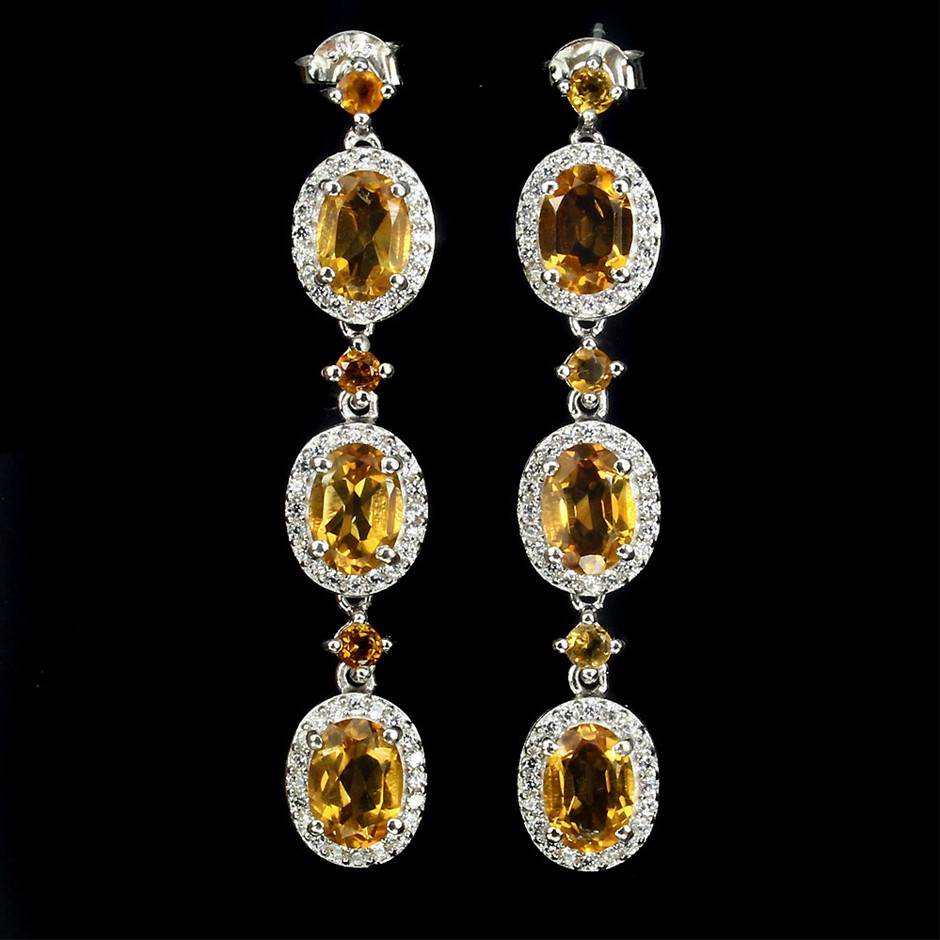 Genuine Citrine Drop Earrings