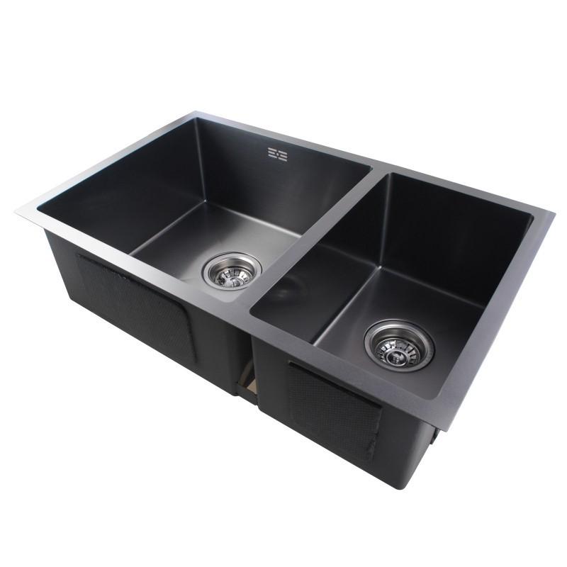 Dark Grey Stainless Steel Handmade Double Bowls Top/Undermount Kitchen Sink