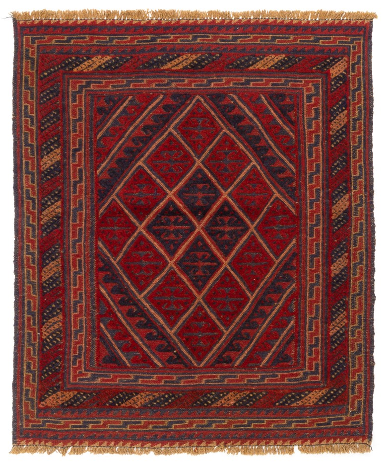 Afghan Hand Knotted Meshawani Mixed Weave Floor Rug Size (cm): 105 x 114