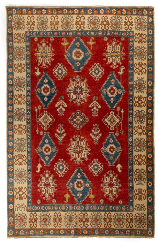 Afghan Kazak Hand Knotted Wool Rug In Tribal Design Size (cm): 201 x 302