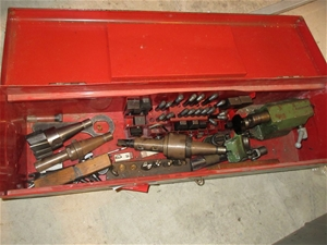 Tool Box with Assorted Lathe Equipment C