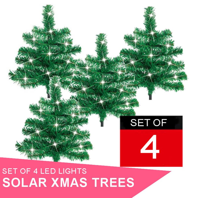 Set of 4 x Solar Powered Christmas LED Trees.