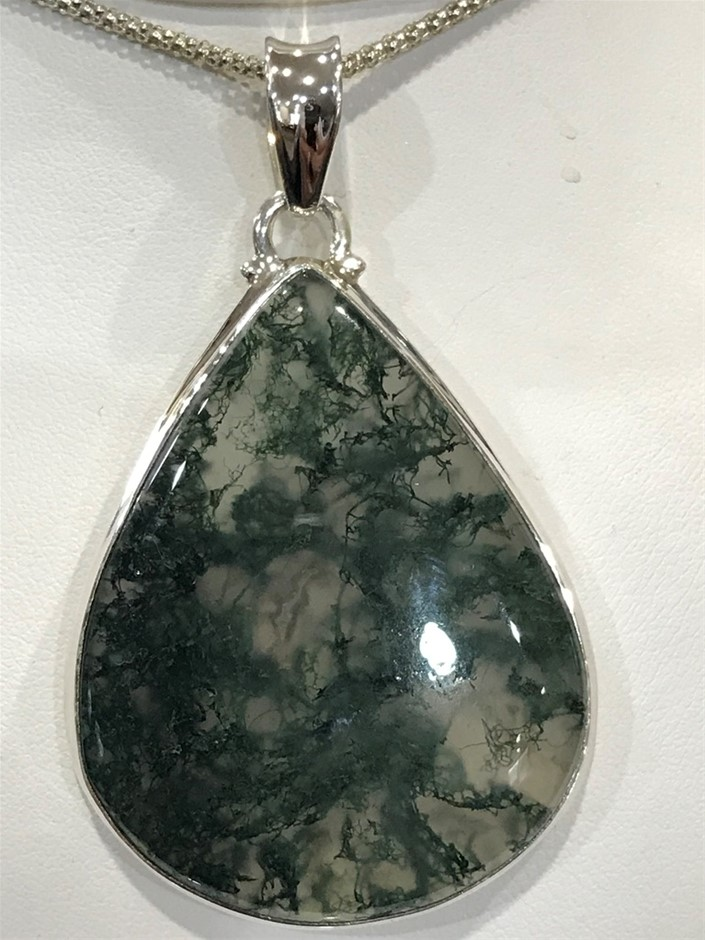 """Magnificent Huge Handcrafted """"Moss Agate"""" Pendant"""