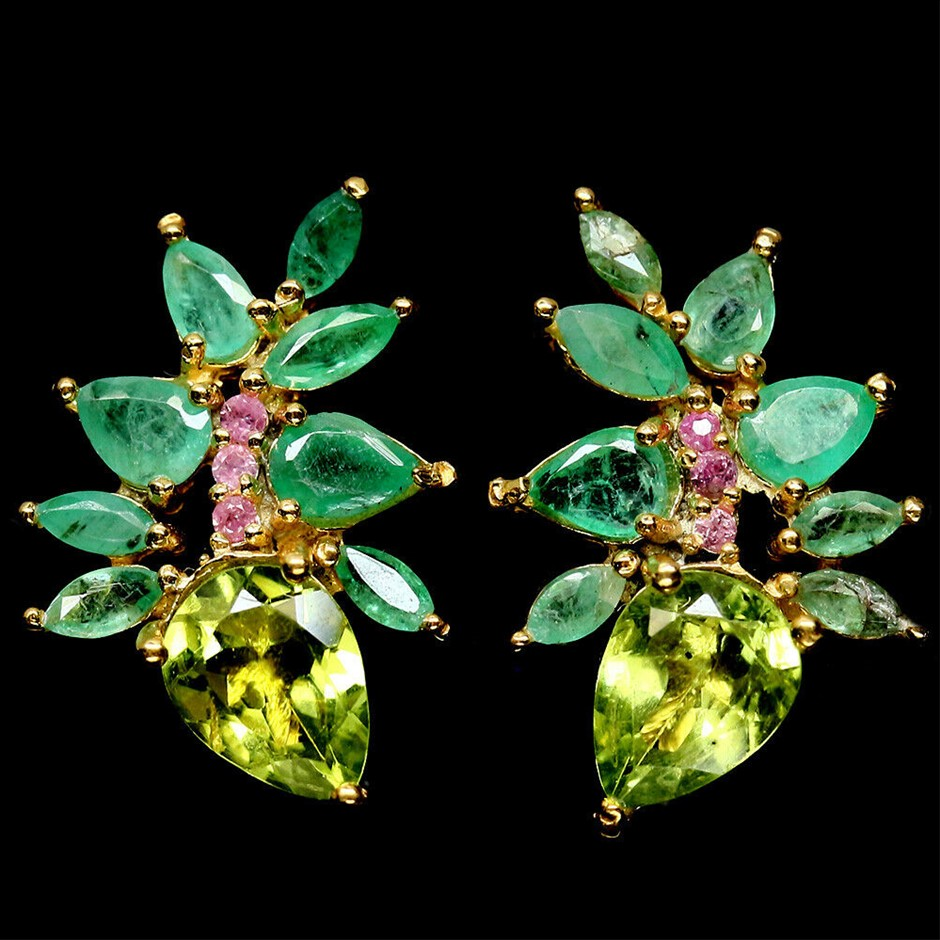 Yellow Gold Emerald, Peridot & Pink Sapphire Earrings.