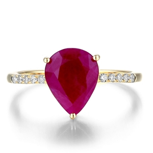9ct Yellow Gold, 2.93ct Ruby and Diamond