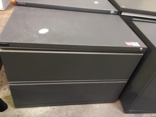 Double Filing Cabinet Grey Metal 2 Drawer