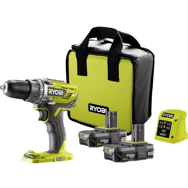 RYOBI 18V Cordless Drill Kit c/w 2 x Batteries 2.5Ah & Charger. Buyers Note