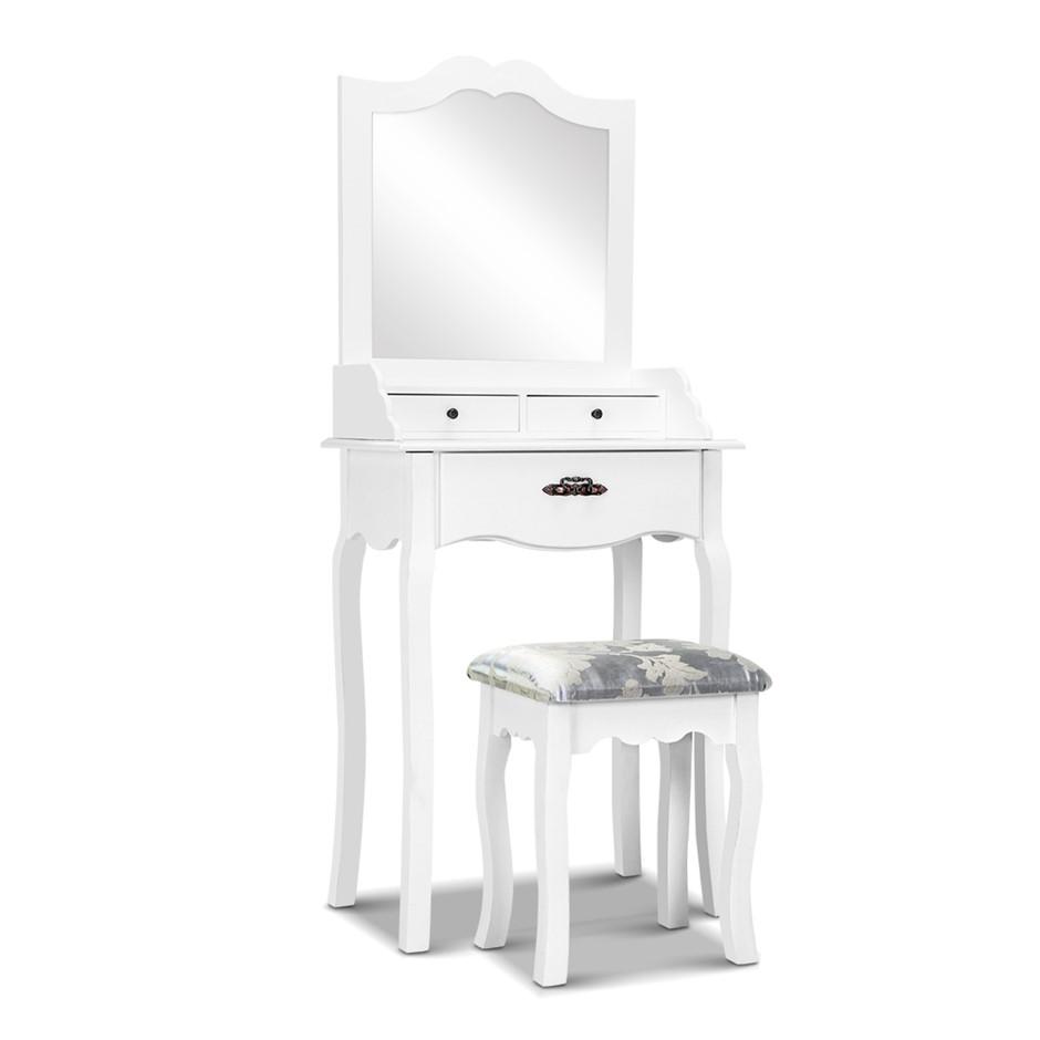 Artiss Dressing Table Stool Mirror Jewellery Cabinet 3 Drawers Organizer