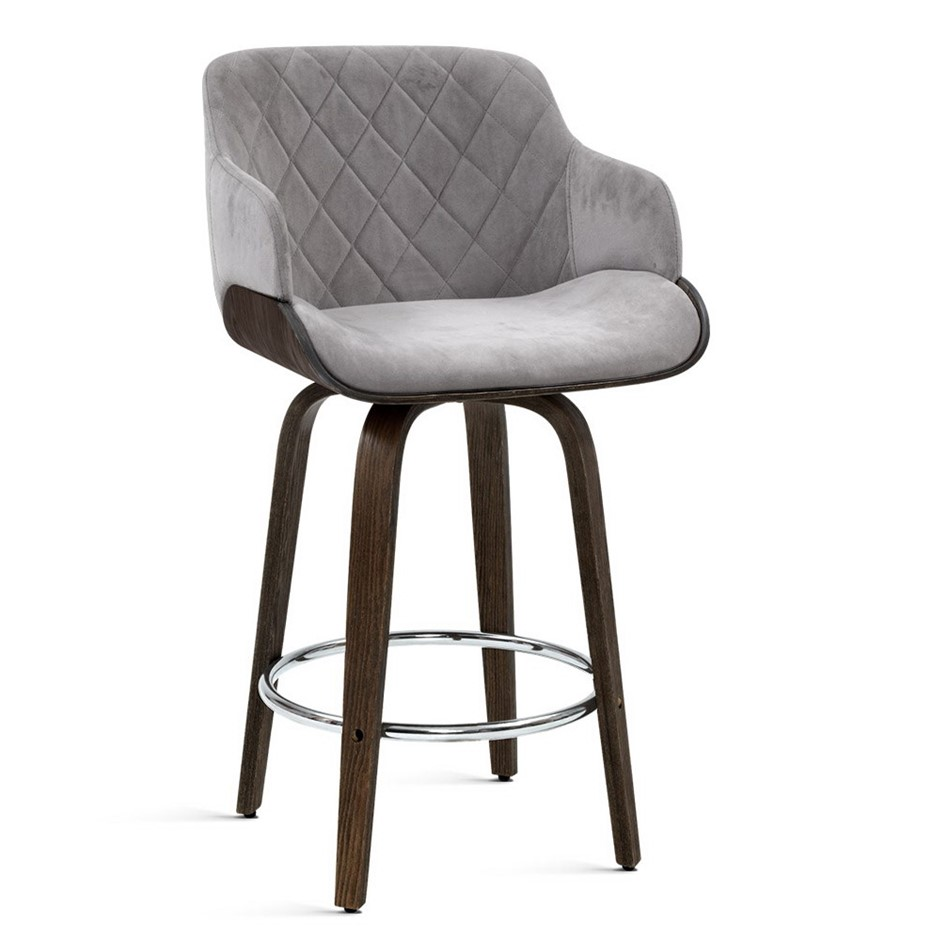 Artiss 1x Kitchen Bar Stools Wooden Bar Stool Chairs Swivel Velvet Grey