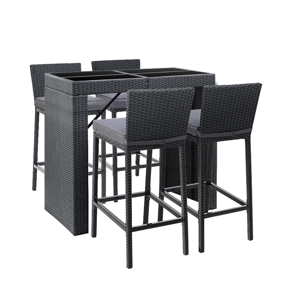 Gardeon Outdoor Bar Set Table Chairs Stools Rattan Patio Furniture 4 Seater