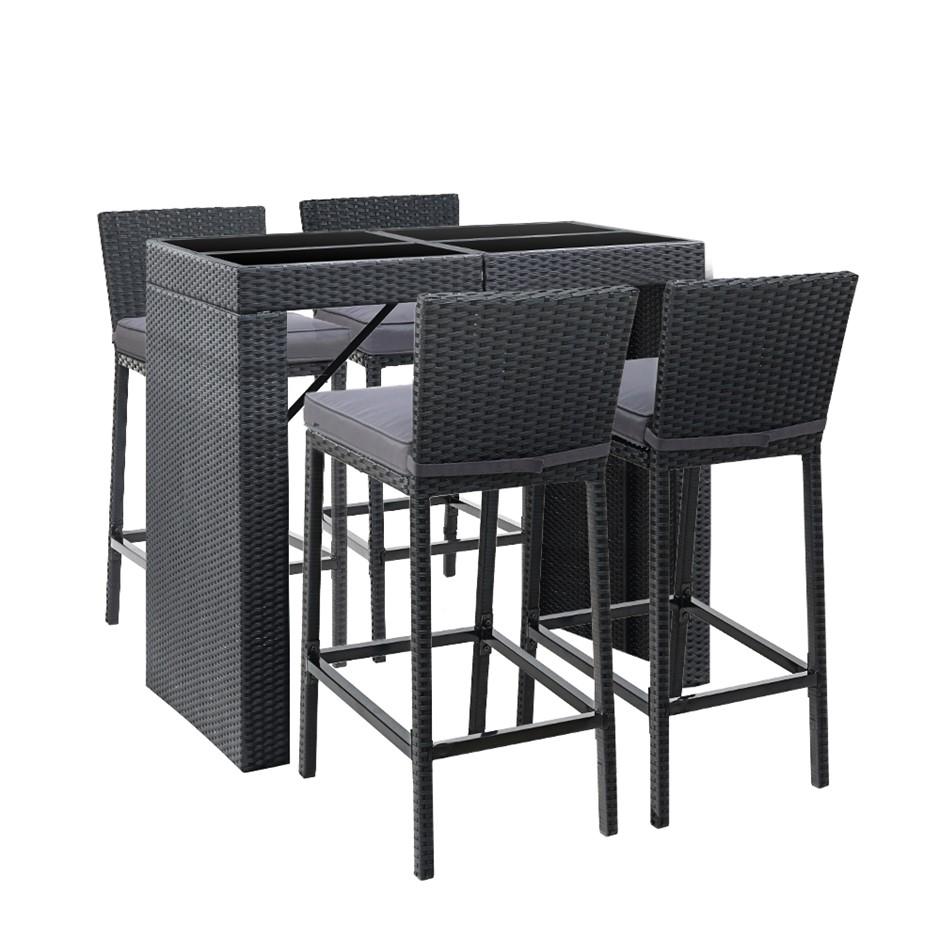 Gardeon Outdoor Bar Set Table Chairs Stools Rattan Patio Furniture 4 Seater