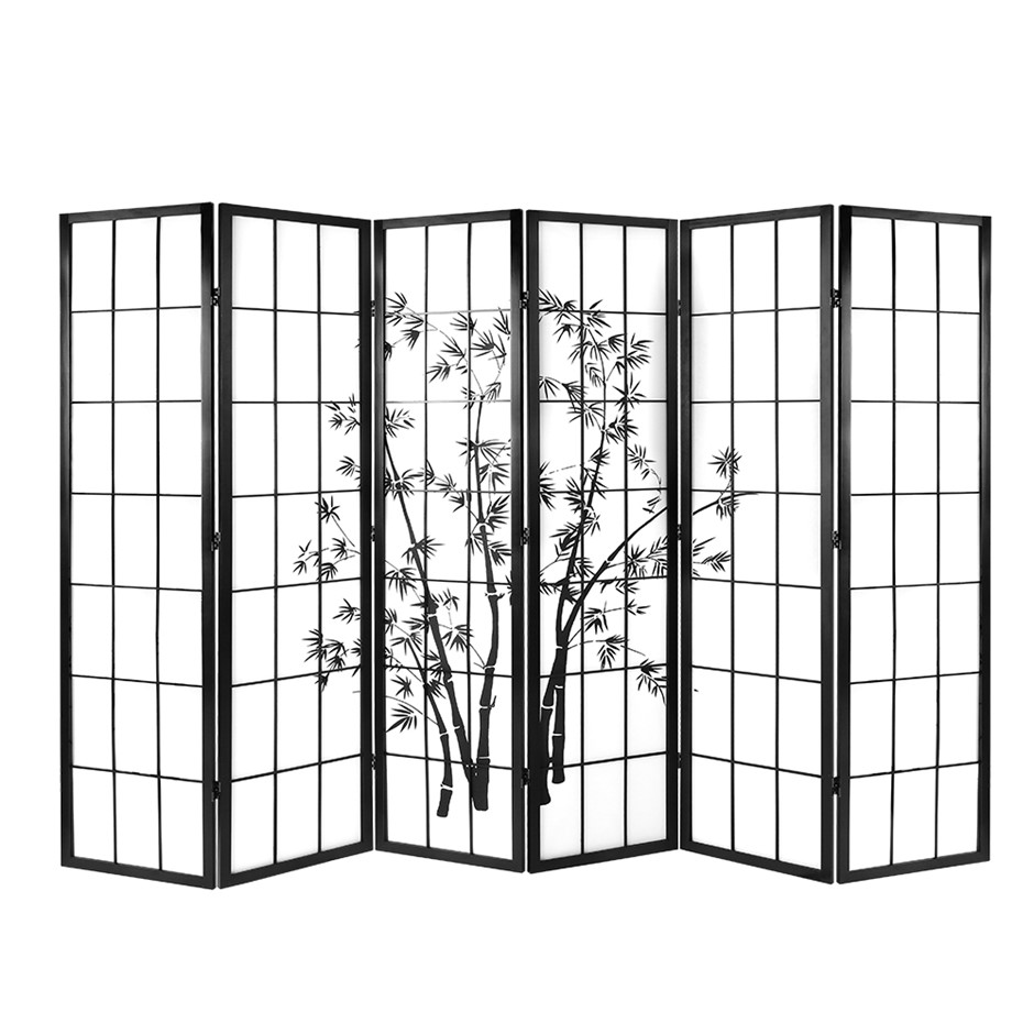 Artiss 6 Panel Room Divider Screen Privacy Dividers Pine Wood Black White