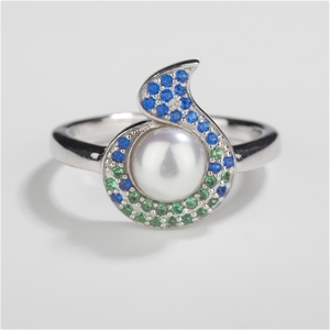 Sterling Silver Ring, Freshwater Pearl &