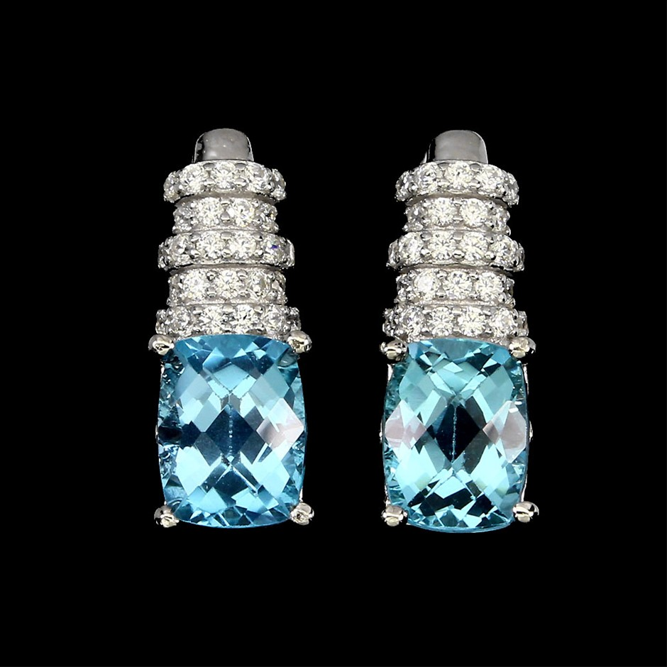 Striking Genuine Swiss Blue Topaz Huggie Earrings