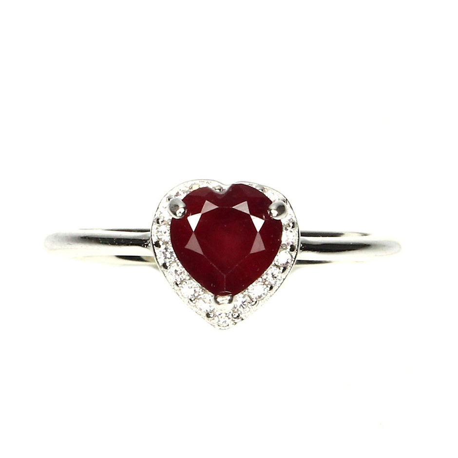Delightful Genuine Blood Red Ruby Heart Solitaire Ring.