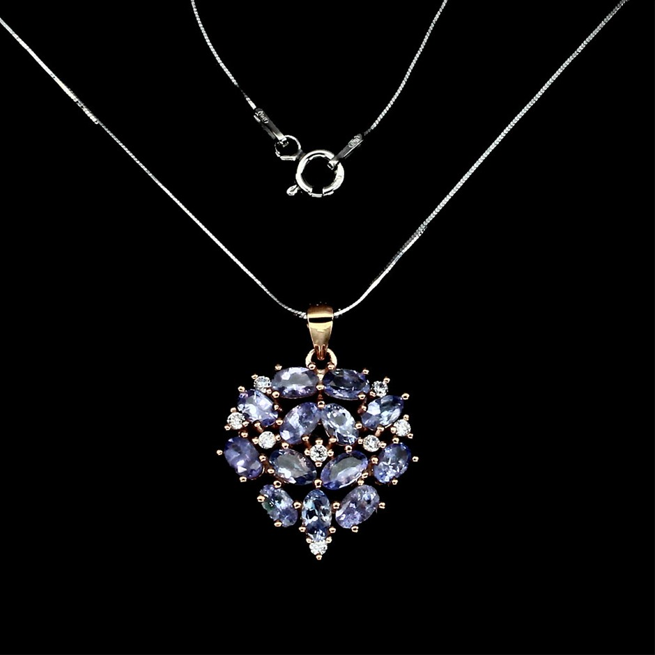 Striking Genuine Tanzanite Cluster Pendant & Chain.