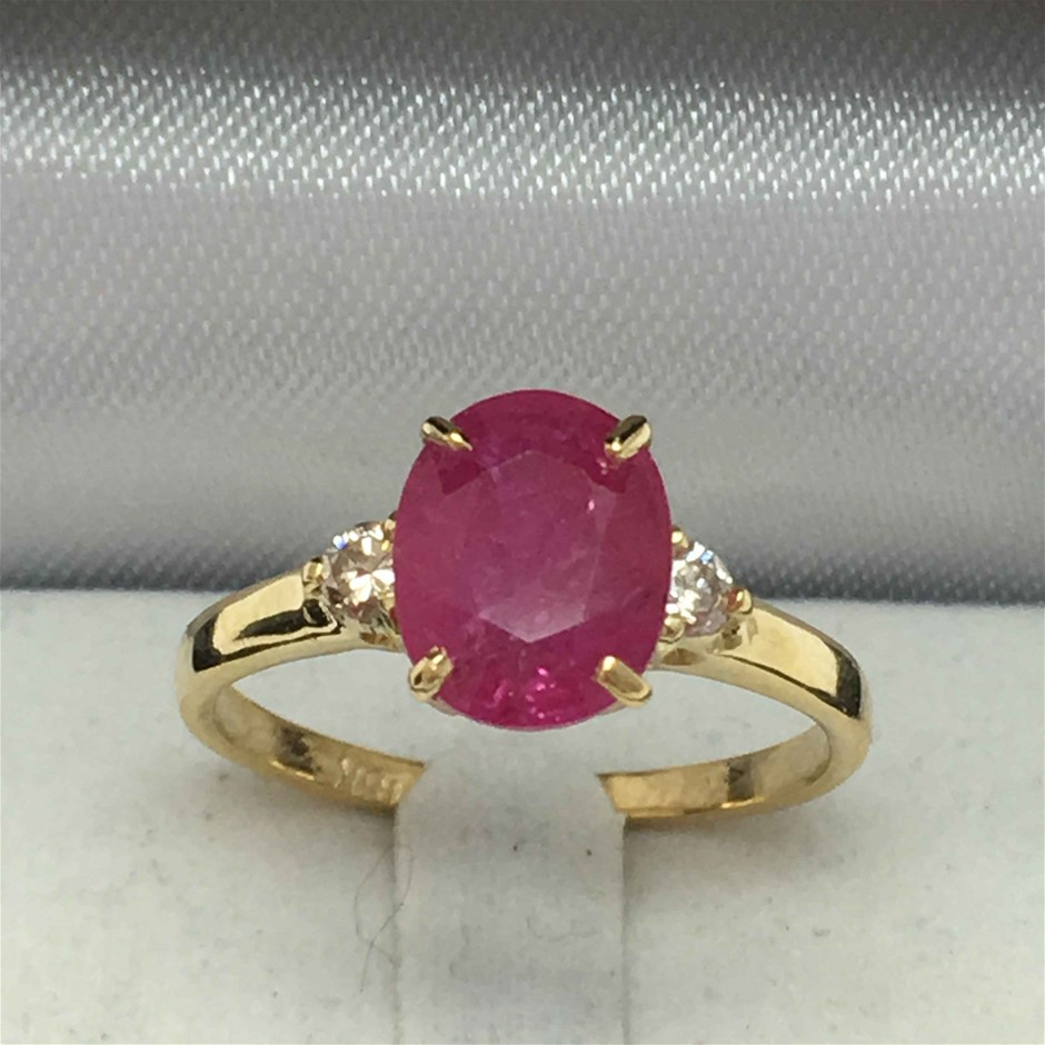 18ct Yellow Gold, 2.88ct Ruby and Diamond Ring