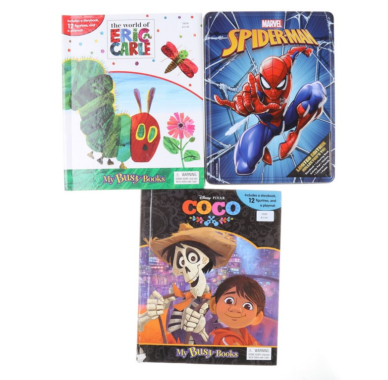 2 x MY BUSY BOOKS-ERIC CARLE & COCO & SPIDERMAN Collection Tin. N.B. Some i