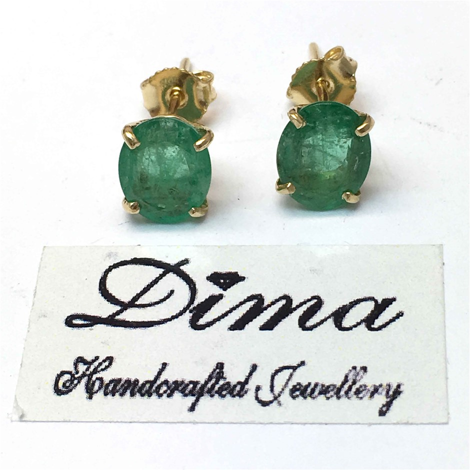 18ct Yellow Gold, 3.33ct Emerald Earring
