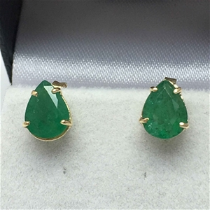 18ct Yellow Gold, 2.92ct Emerald Earring
