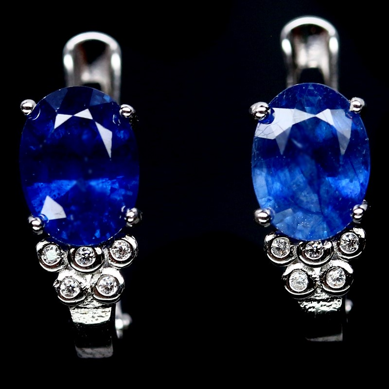 Stunning Genuine Sapphire Huggie Earrings