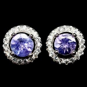 Striking Genuine Tanzanite Stud Earrings
