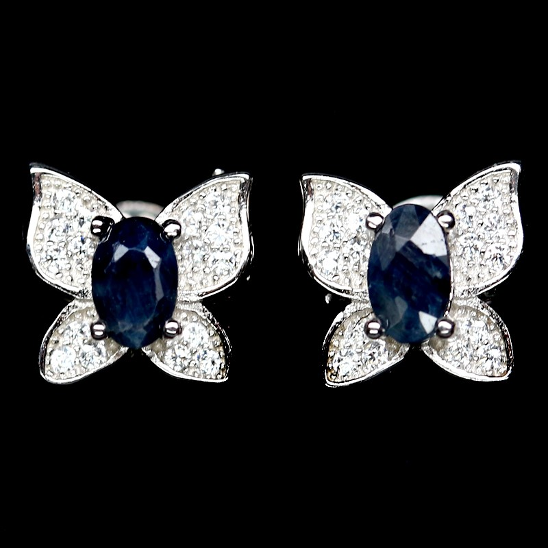 Beautiful Genuine Sapphire butterfly Stud Earrings.