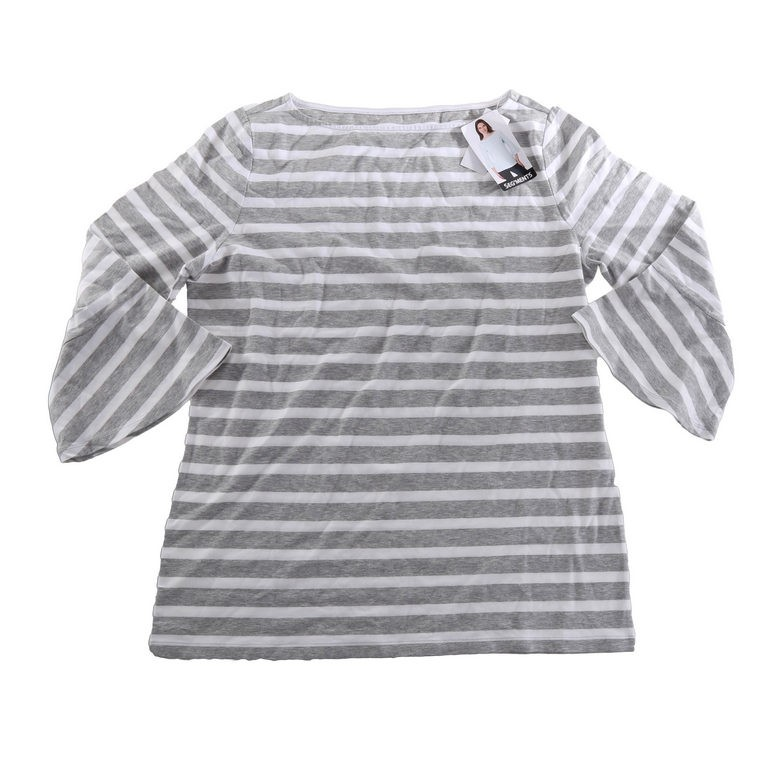 2 x SEG`MENTS Women`s Striped Tops w/ 3-Quarter Flare Sleeves, Size S, Grey