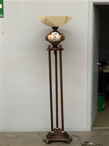 6ft Wooden 3 Tiered Gold and Cream Lamp