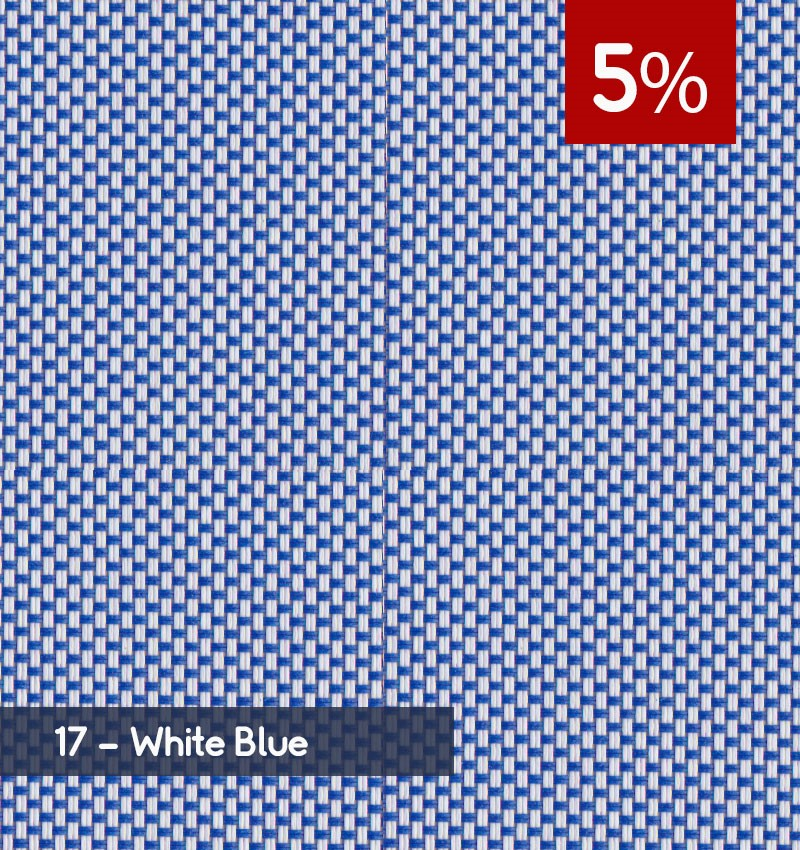 Premium 3m x 30m Roll of Blind - White Blue (5% OPENNESS)