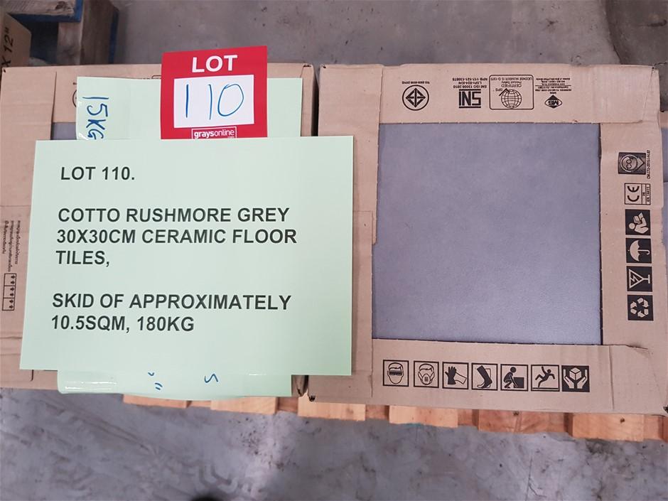 Cotto Rushmore Grey 30x30cm Ceramic Floor Tiles, 10.5m²