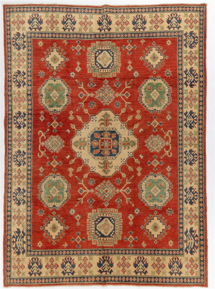 Afghan Kazak Hand Knotted Wool Pile Rug In Tribal Design Size (cm): 216x297