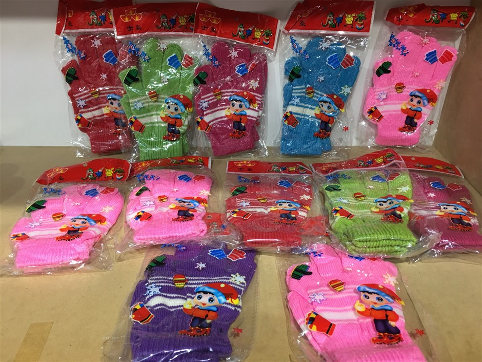 Bulk Lot of 12 Assorted Knitted Children's Gloves
