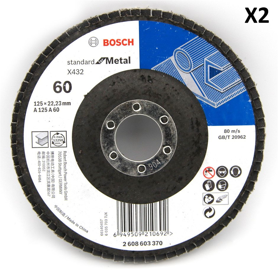 2 x Bosch 125mm Metal Flap Disc Sanding wheel 60 Grit