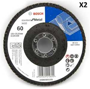 2 x Bosch 125mm Metal Flap Disc Sanding