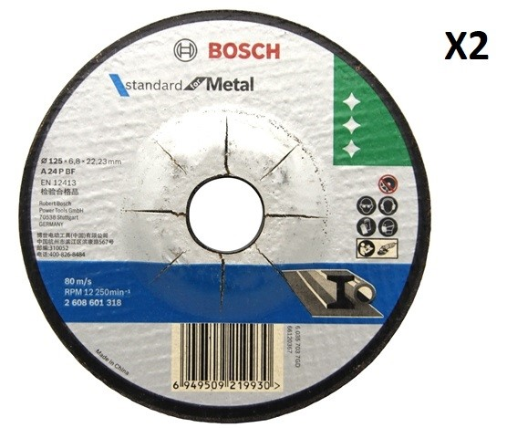 2 x Bosch Metal Grinding Disc with Depressed Centre 125x16x6mm