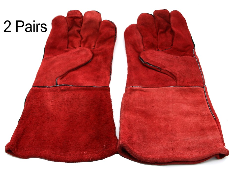 2 Pairs x Heavy Duty Leather Welding Gloves