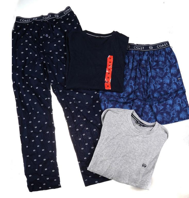 2 x COAST CLOTHING Men`s Shirt, Pants & Shorts Sleepwear Sets, Size M, Navy