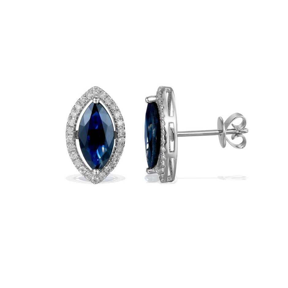 9ct White Gold, 2.62ct Blue Sapphire and Diamond Earring