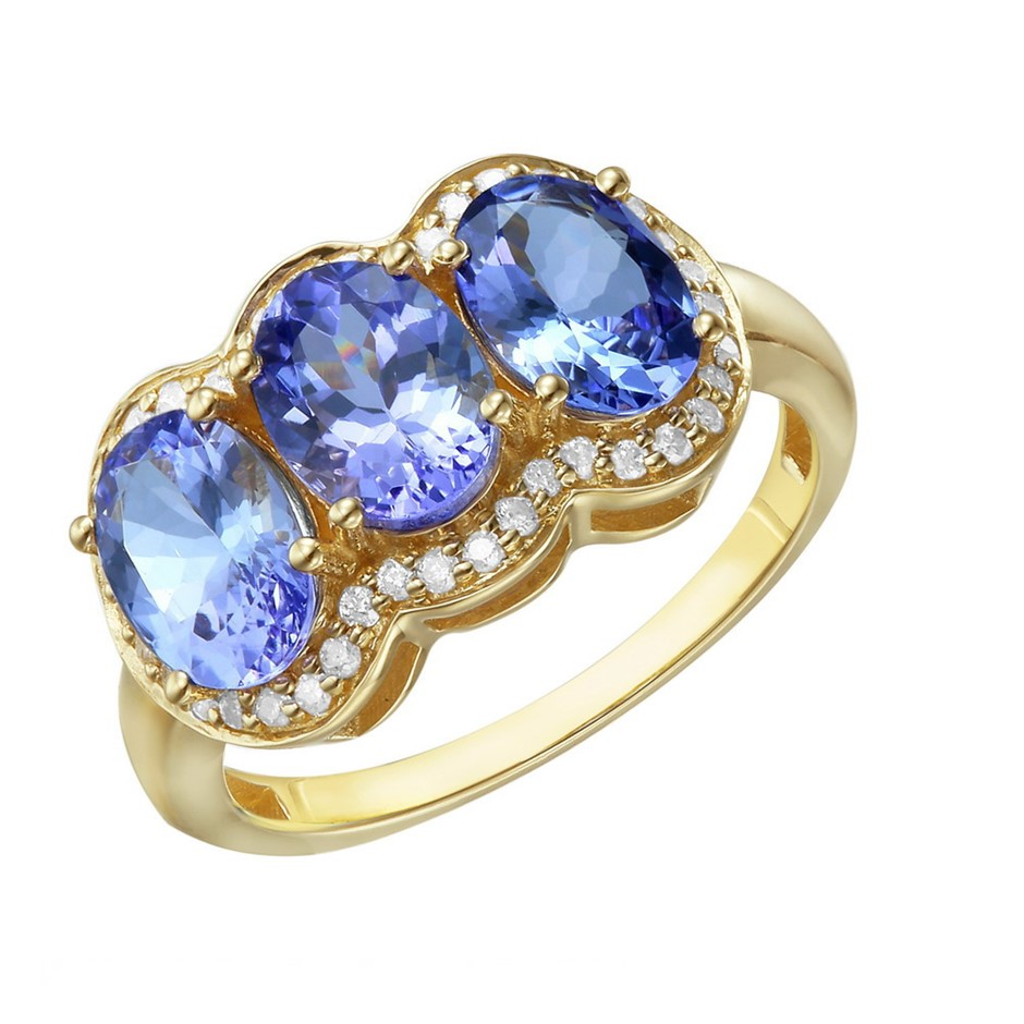 9ct Yellow Gold, 3.14ct Tanzanite and Diamond Ring
