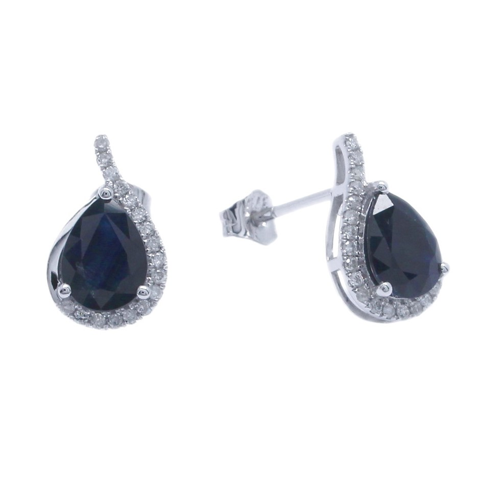 9ct White Gold, 2.79ct Blue Sapphire and Diamond earring