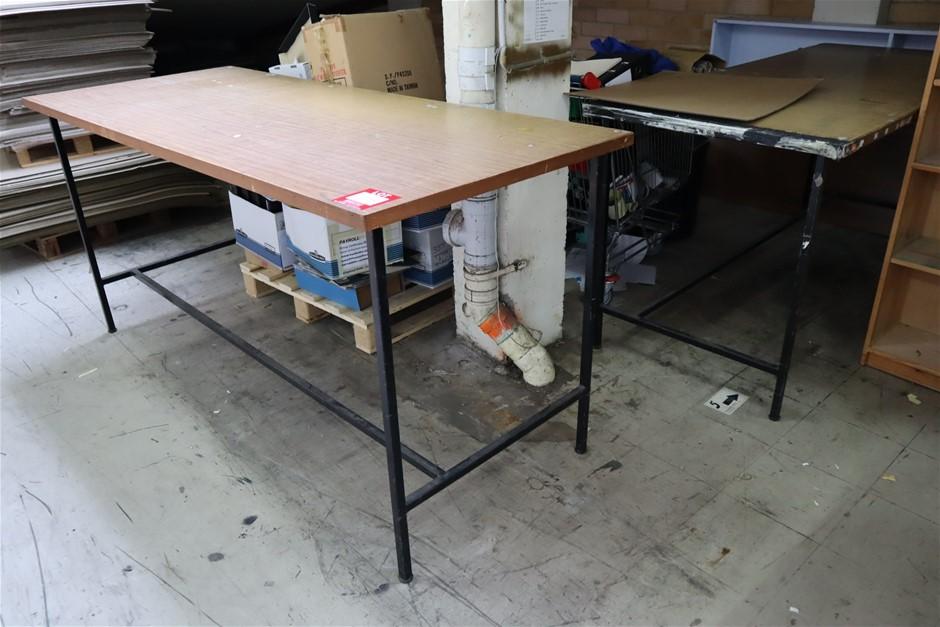 3 x Metal Framed Work Tables