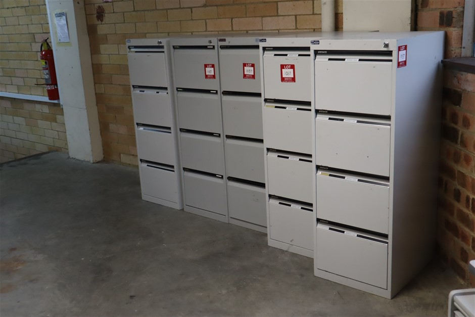 5 x 4 Drawer Filing Cabinets in Grey Metal & 2 x Timber Bookcases