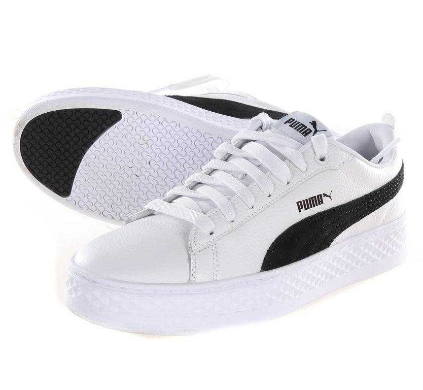 Pair Women`s PUMA Smash Platform Casual Sneakers, UK Size 6.5, Black/White.