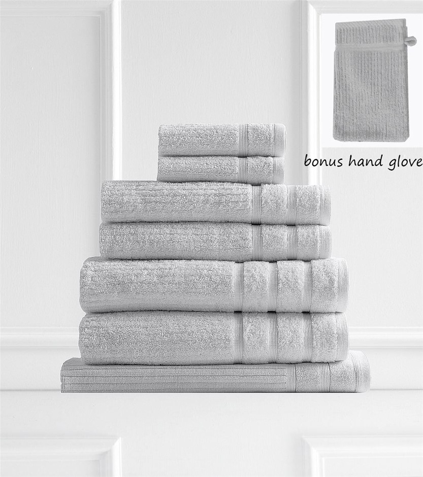 Royal Comfort Eden Egyptian Cotton 600 GSM 8 Piece Towel Pack Sea Holly