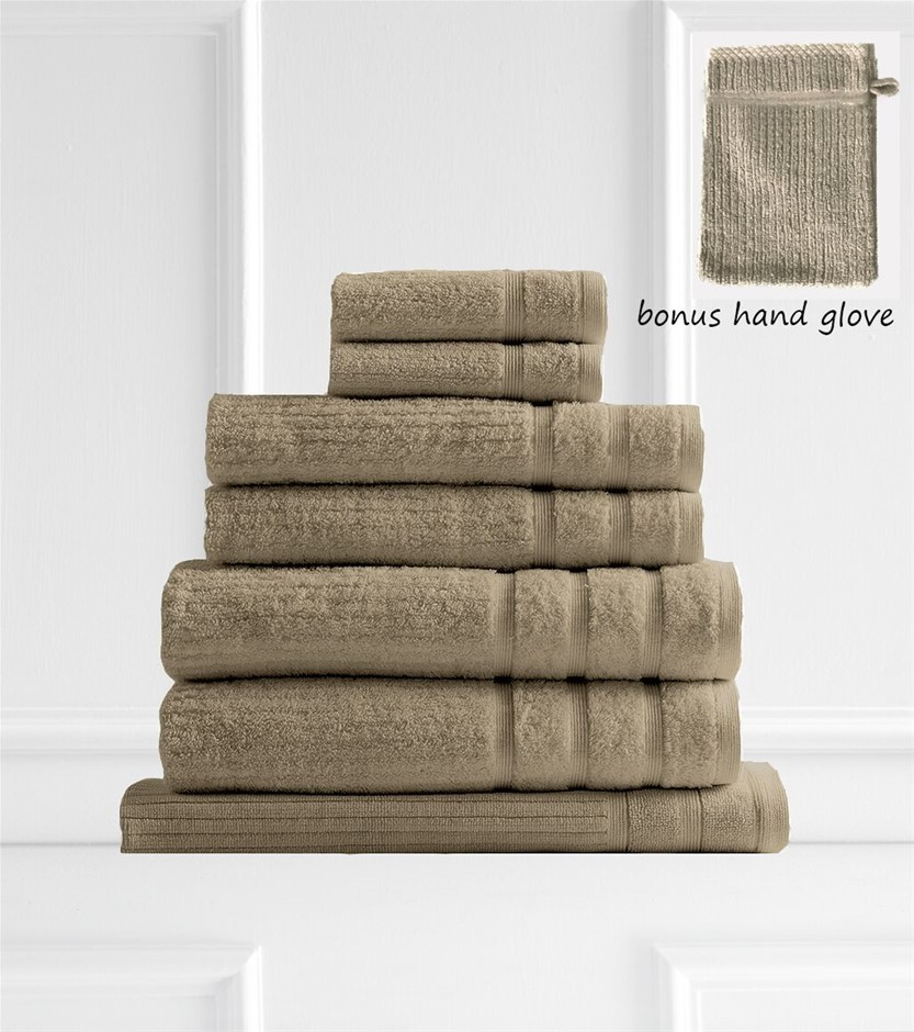 Royal Comfort Egyptian Cotton 600 GSM 8 Piece Towel Pack Champagne Rose